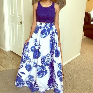 Sequin Hearts Royal Blue & White 2 pc. Formal Gown